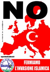 """Islamophobia Watch. Cartaz da Liga com os dizeres """"Pare a invasão islâmica"""""""