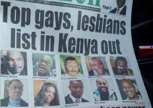 Capa do jornal queniano The Nation, de 11 de maio de 2018, expondo gays de destaque, a fim de suscitar perseguições contra os LGBT