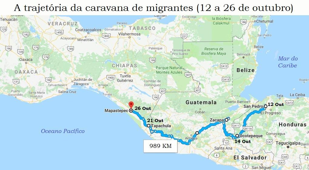 Trajetória da caravana de migrantes