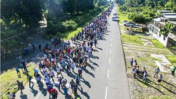Caravana de migrantes no sul do México, a caminho de Tapachula