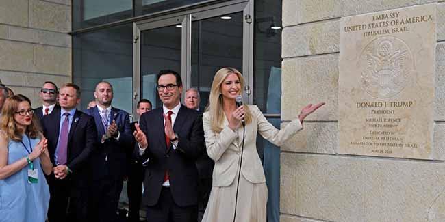 Ivanka Trump na inauguração da embaixada americana em Jerusalém, 14 de maio de 2018