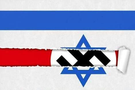 Imagem frequente do discurso antissemita atual: o estandarte nazista surge atrás da bandeira de Israel