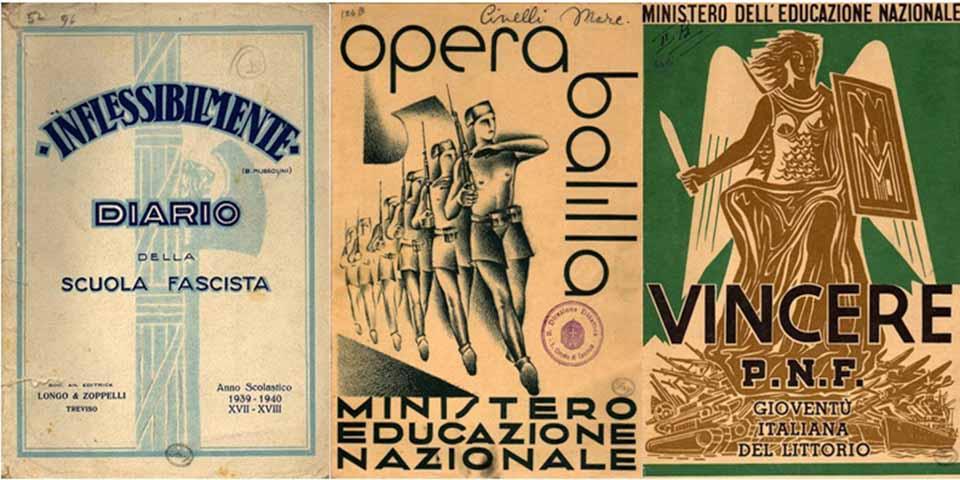 Três cartazes de propaganda da escola fascista na Itália de Benito Mussolini. As crianças deviam aprender a celebrar o Estado totalitário