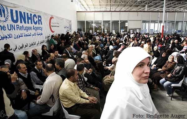 Refugiados iraquianos no centro do Acnur, em Douma (Síria), novembro de 2008