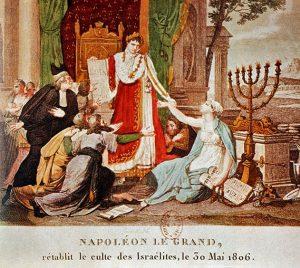 >Napoleão é saudado pelos judeus. A imagem foi produzida em terras alemãs, em 1806. Napoleão é o liberalismo e os judeus são bonapartistas, logo...