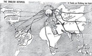 Representação do poder financeiro da família Rothschild no final do século XIX. A imagem dos tentáculos de polvo que abraçam e estrangulam serão recorrentes na iconografia antissemita contemporânea. Esse imaginário culminará no holocausto.
