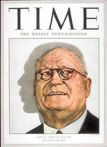 """Daniel Malan, primeiro-ministro sul-africano entre 1948 e 1954, o """"pai do apartheid"""", capa da Time de 5 de maio de 1952"""