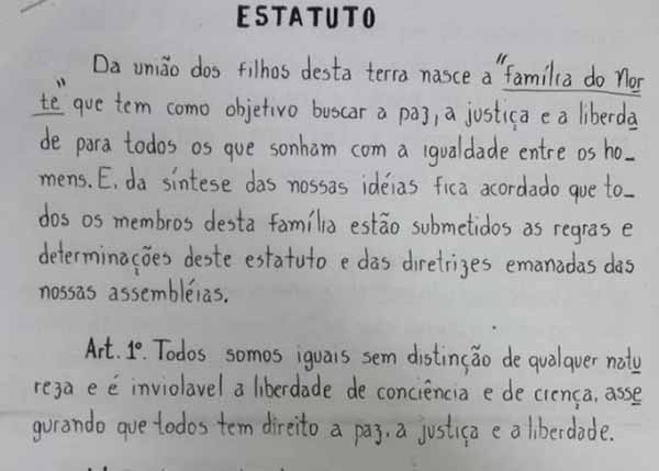 Trecho do estatuto da Família do Norte (FDN), principal facção criminosa do Amazonas. O crime organiza-se nas penitenciárias, seguindo os modelos do CV e do PCC