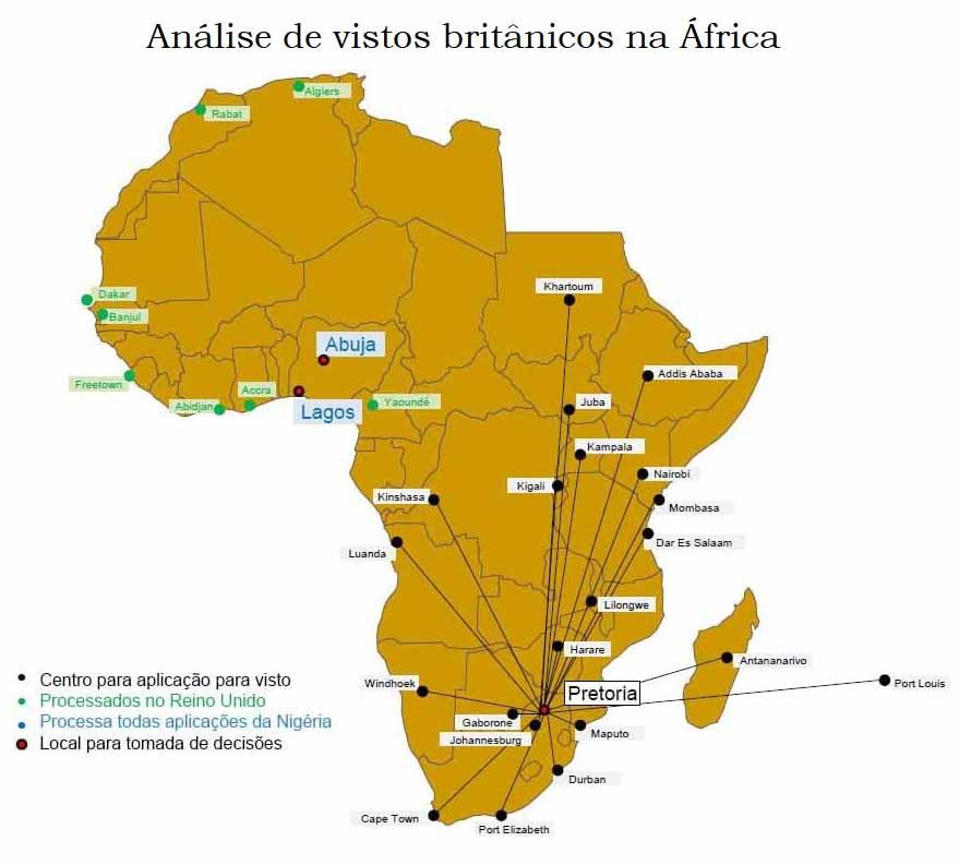 Análise de vistos britânicos na África