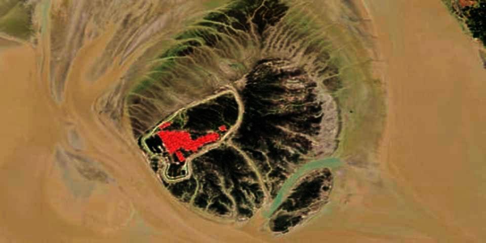 A ilha de Bashan Char e a área onde foram construídos os abrigos