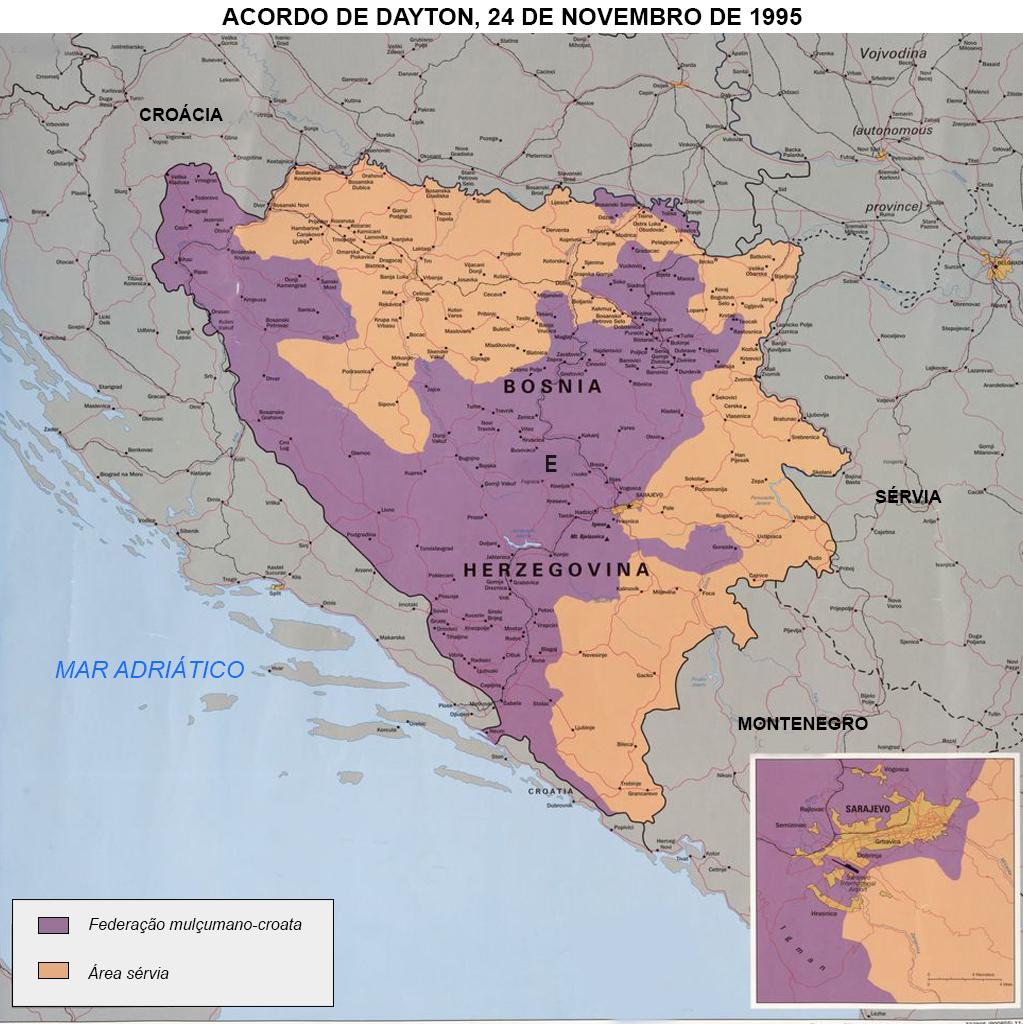Acordo de Dayton de 1995. Bósnia e Herzegovina.