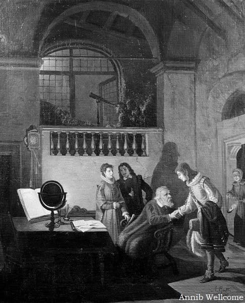 John Milton visita Galileo Galilei, que se encontrava em prisão domiciliar, em Florença, em 1638