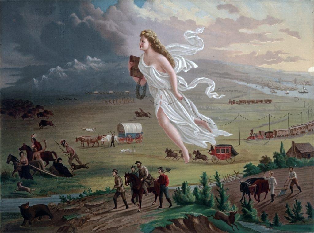 Representação clássica do Destino Manifesto. Certamente essa imagem sintetiza os mitos nativistas do oeste que é também a liberdade. Pintura de John Gast.
