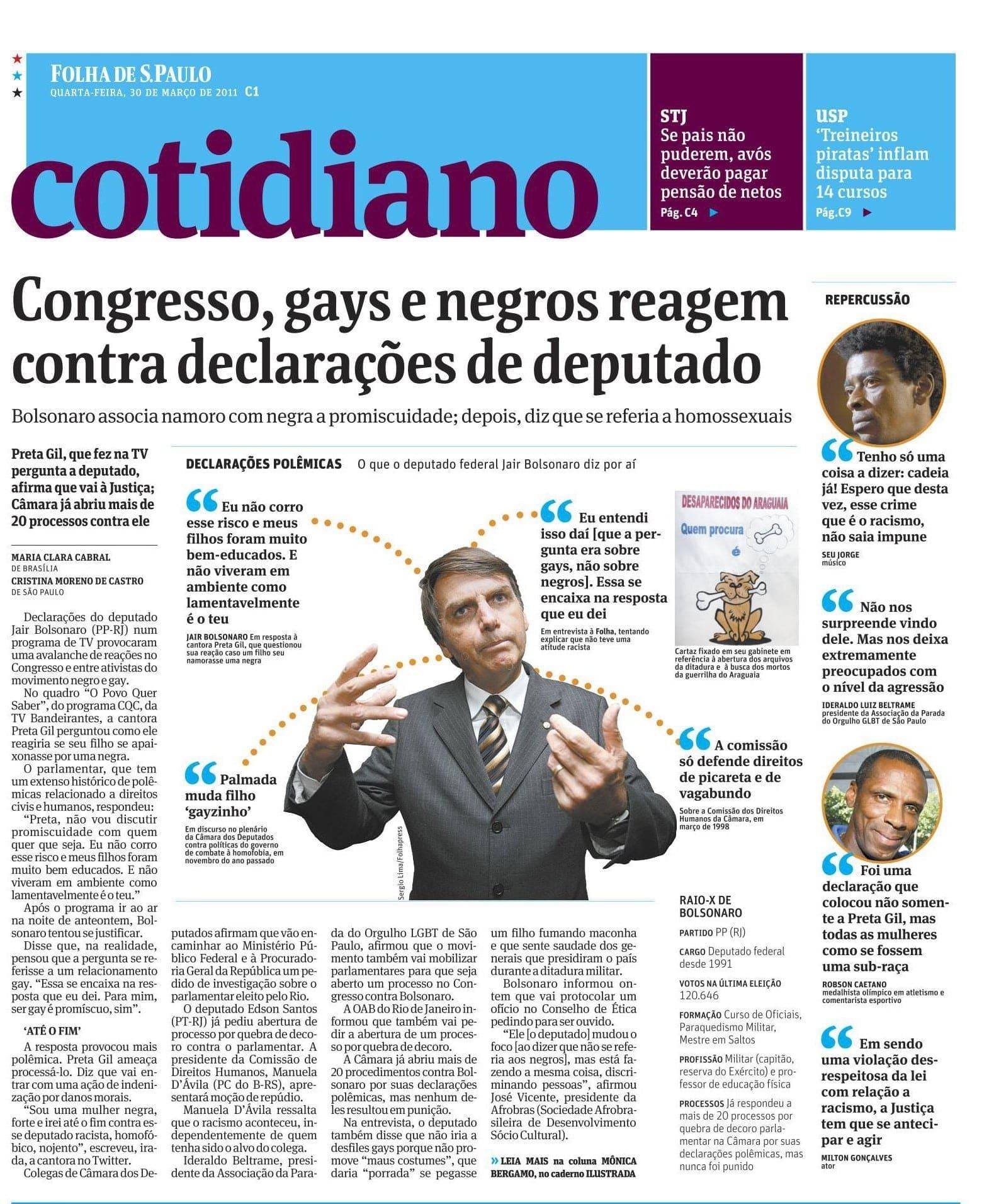 Bolsonaro ofende gays e negros.
