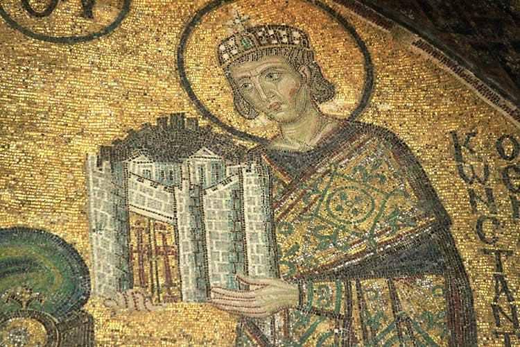 Mosaico: Constantino doa Roma