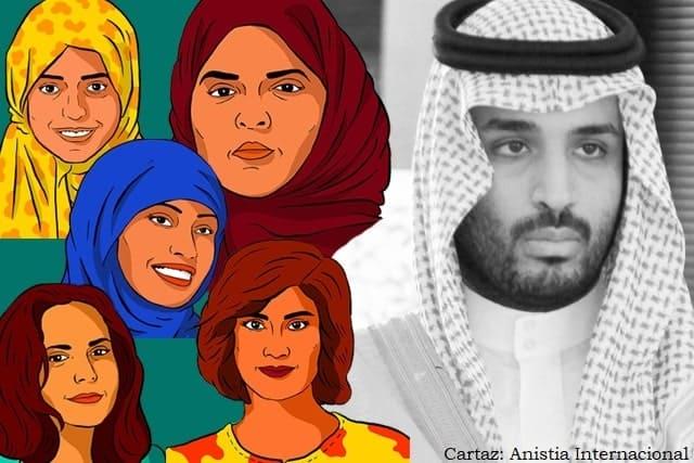 Principe Salman e desenho de ativistas presas
