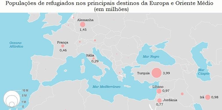 Mapa refugiados na Europa