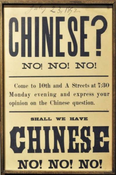 Cartaz Lei de exclusão 1892