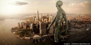 Desenho alien em Nova York