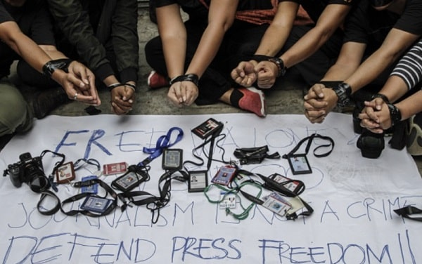 Manifestação de Repórteres sem Fronteira