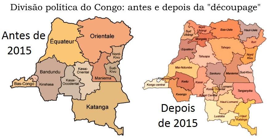 Mapa Nova divisão territorial do Congo