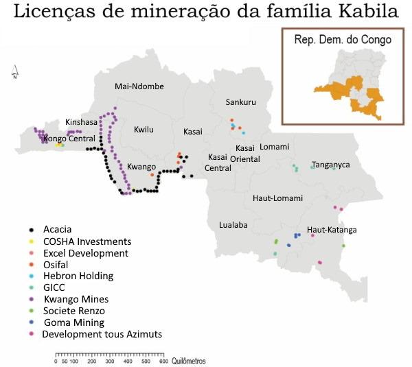 Mapa- mineração familia Kabila