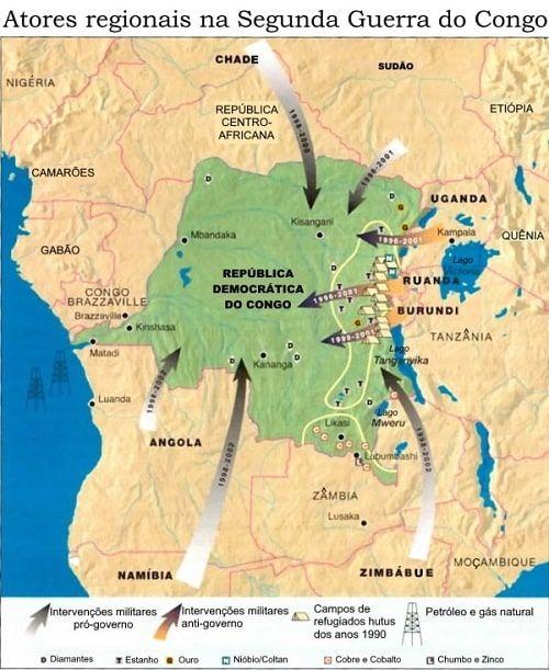 Mapa guerra e minerios