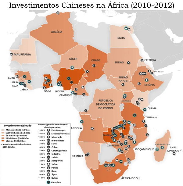 Mapa - investimentos chineses