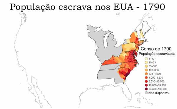 Mapa escravos nos EUA, 1790