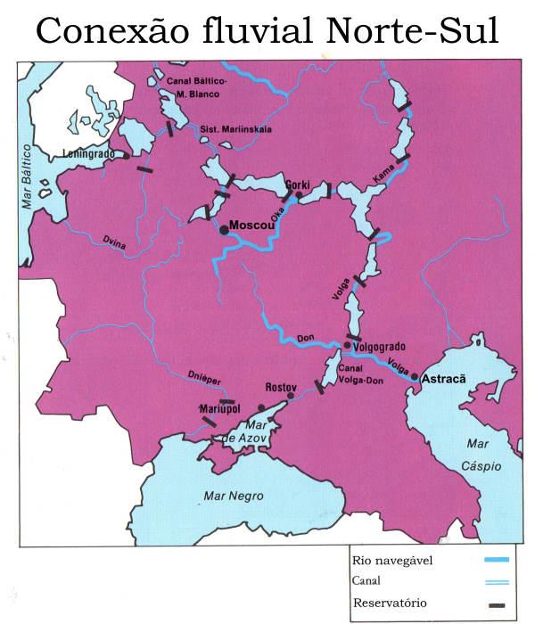 Mapa - canais ligam mares