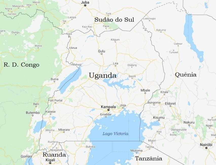 Mapa Uganda e vizinhos